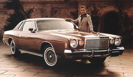 A young Ricardo Montalban with the 1976 Chrysler Cordoba. Photo via Truthaboutcars.com